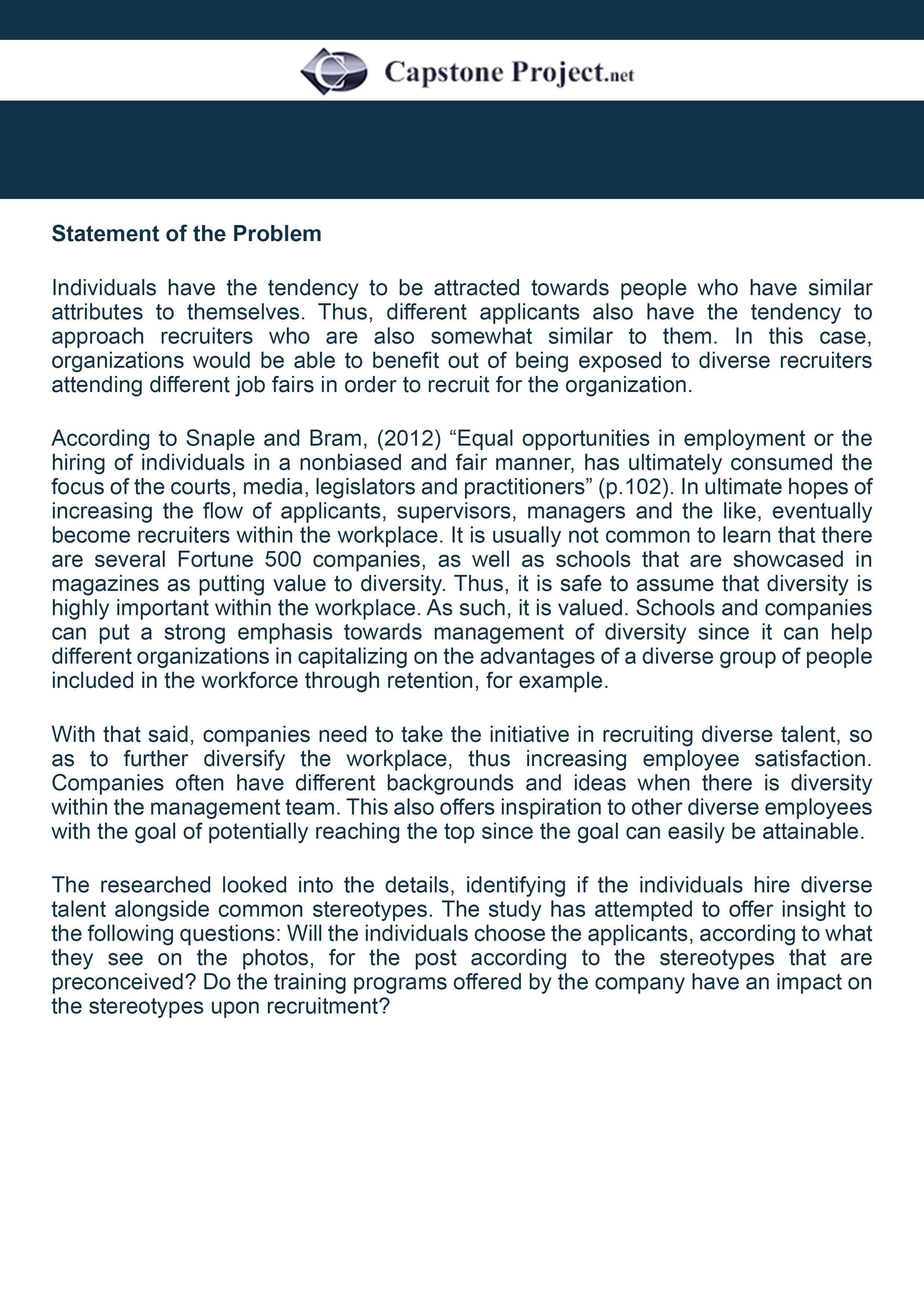 capstone paper statement of the problem sample