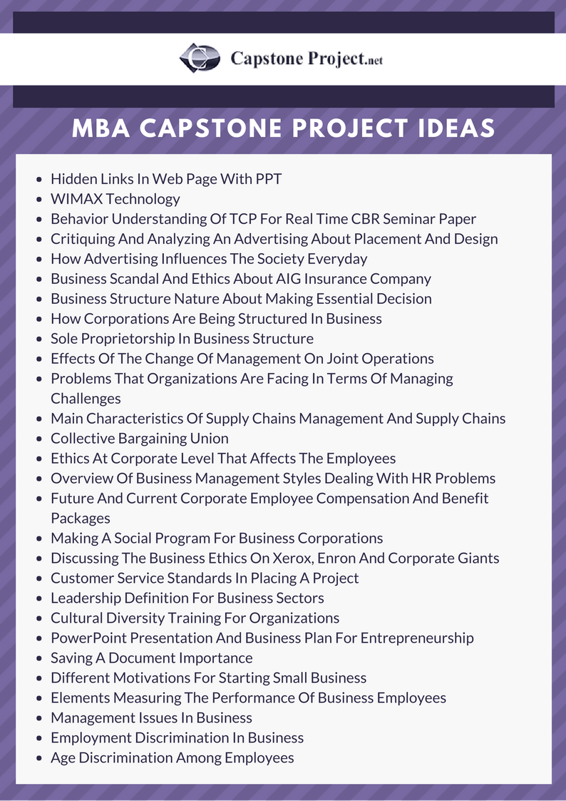 mba capstone project ideas