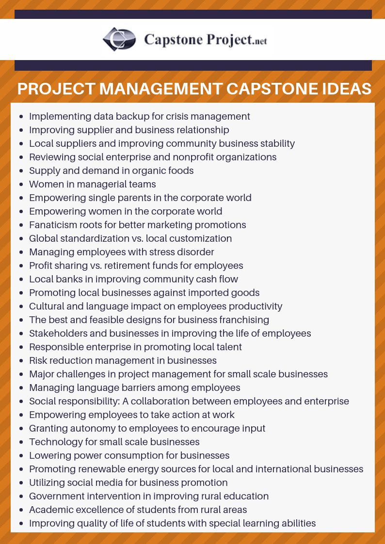 project management capstone paper ideas